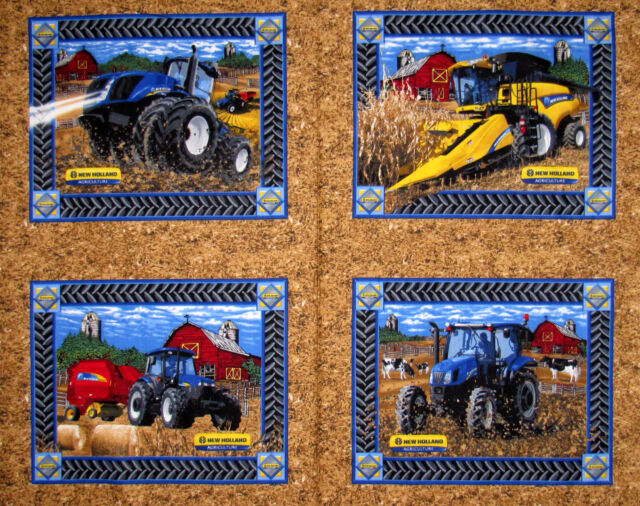 New Holland Machinery Farm Tractor Barn Fabric Print Concepts 1226C Pillow PANEL