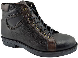 $215 REACTOR Black Brown Calf Leather Ankle Boots Men Shoes