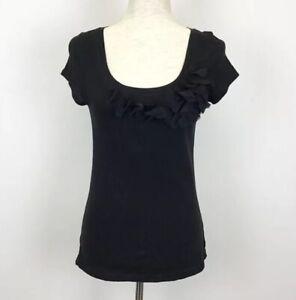 Ann-Taylor-Loft-Black-Scoop-Neck-Shirt-Applique-Detail-Size-Small