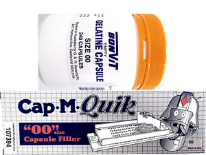 CAPMQUIK Capsule Filling Machine FILLER with 240 x '00' Size GELATINE Capsules