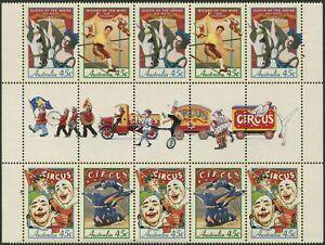 Australia-1997-SG1675-1678-Circus-gutter-block-of-10-MNH