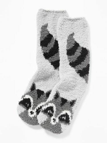 New with tag Raccoon Fuzzy Cozy Socks Women/'s Racoon Forrest Animal