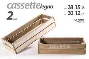 Set 2 Cassette Scatole Box In Legno Naturale Decorate Yat 725234 Ebay