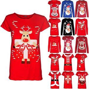 Kids Christmas Glitter Nose Long Sleeve Children Reindeer Face Xmas T Shirt Top