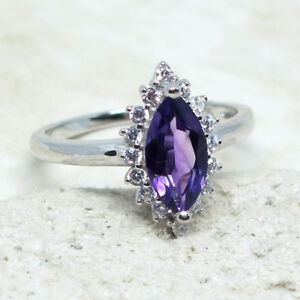 WONDERFUL 1.5 CT GENUINE AFRICAN AMETHYST 925 STERLING SILVER RING SIZE 5-10