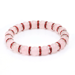 Bracelet Red Cubic Zirconia Natural Pink Agate Stone Yoga Beads f Women UKseller