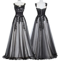 Sexy Black Formal Soft Tulle Ball Gowns Cocktail Evening Prom Long Party Dresses