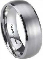 Boxed Tungsten Carbide Mens Wedding Engagement Comfort Fit Band Ring 8mm