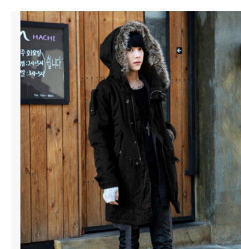 Korean Men/'s Fur Collar Hooded Winter Thicken Slim Trench Long Coat Jacket Parka