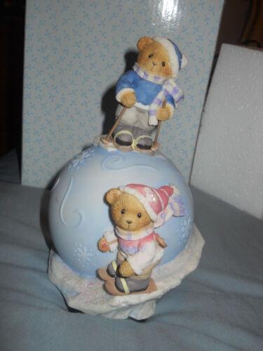 "Mint In Original box, Cherished Teddies /""Havin/' A Snowball/"" Musical Globe"