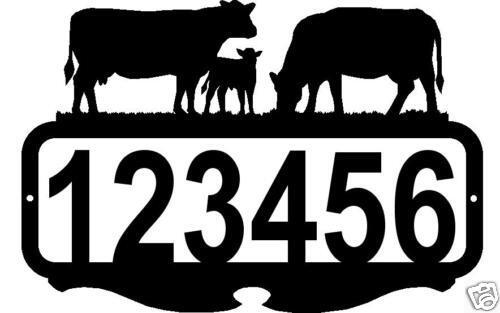 CUSTOM ADDRESS SIGN PERSONALIZED NAME METAL ART COWS RUSTIC FARM RANCH DECOR