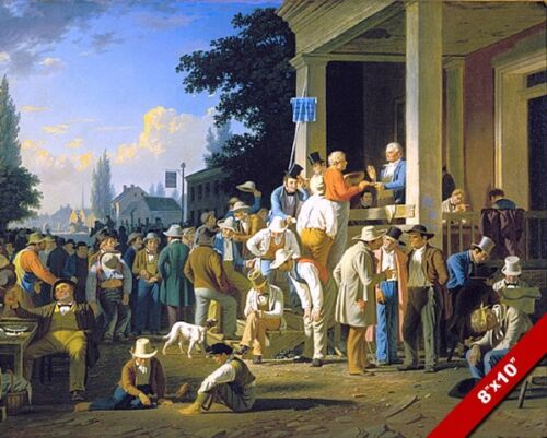 THE COUNTY ELECTION AMERICAN POLITICS PAINTING GC BINGHAM ART REAL CANVAS PRINT