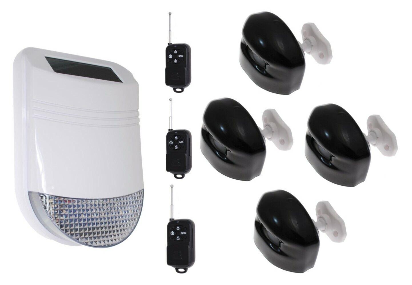 Hy Kit Alarma Sirena inalámbrica solar al aire libre 3 (Solar Sirena actúa como panel de control)