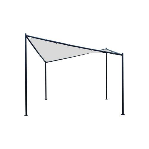 Walmdachpavillon Orlando Sonnensegel Pavillon schwarz weiß Sonnenschutz Stahl