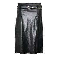 Womens Bodycon Skirt Wet Look Midi Belted Ladies Shiny High Waist Knee Length