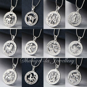 18K-White-Gold-GF-SILVER-Zodiac-Star-Sign-Horoscope-Love-Pendant-Necklace-GIFT