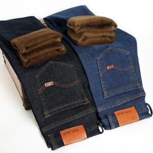 Jeans-de-hombre-entallada-de-Invierno-de-Terciopelo-Grueso-Jeans-Pantalones-informales-Pantalones
