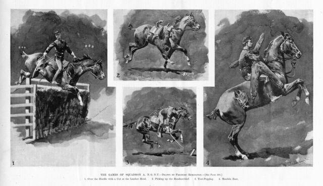 FREDERIC REMINGTON SQUADRON A'S GAMES HORSES TENT PEGGING JUMPING HURDLES