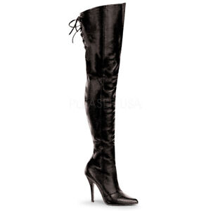 Pleaser LEGEND-8899 Women's Black W/Lacing Detail At The Rear Heels Thigh Boots