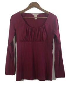 SUNDANCE-Women-s-Size-M-Ruched-Tee-Fuscia-Pull-Over-Top-Long-Sleeve