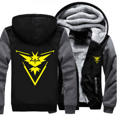 Pokemon Go Team Instinct Jacket Thick Zipper Sweatshirts Cosplay Hoodie Coat