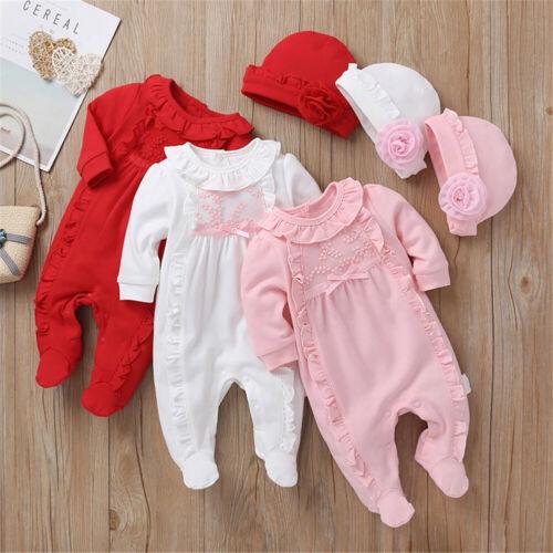 Newborn Baby Girl Clothes 3D Flower Romper Jumpsuit Bodysuit Hat Outfit Set 2PCS
