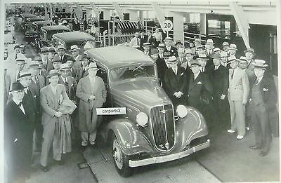 "1935 Chevrolet Assembly line with dealer  12X18"" Black & White Picture"
