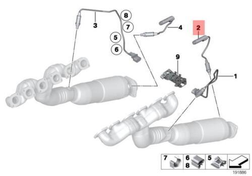 Genuine BMW E65 E66 E67 Grey Lambda Probe Oxygen Sensor 325MM OEM 11787512973