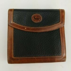 Dooney-amp-Bourke-Vintage-Brown-amp-Tan-All-Weather-Leather-Bifold-Wallet-RARE