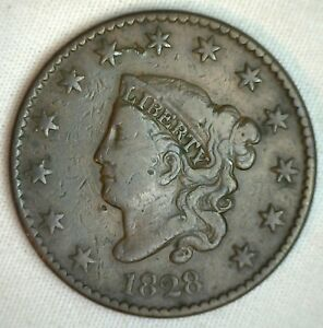 1828-Coronet-Large-Cent-US-Copper-Type-Coin-FINE-Genuine-Penny-M7