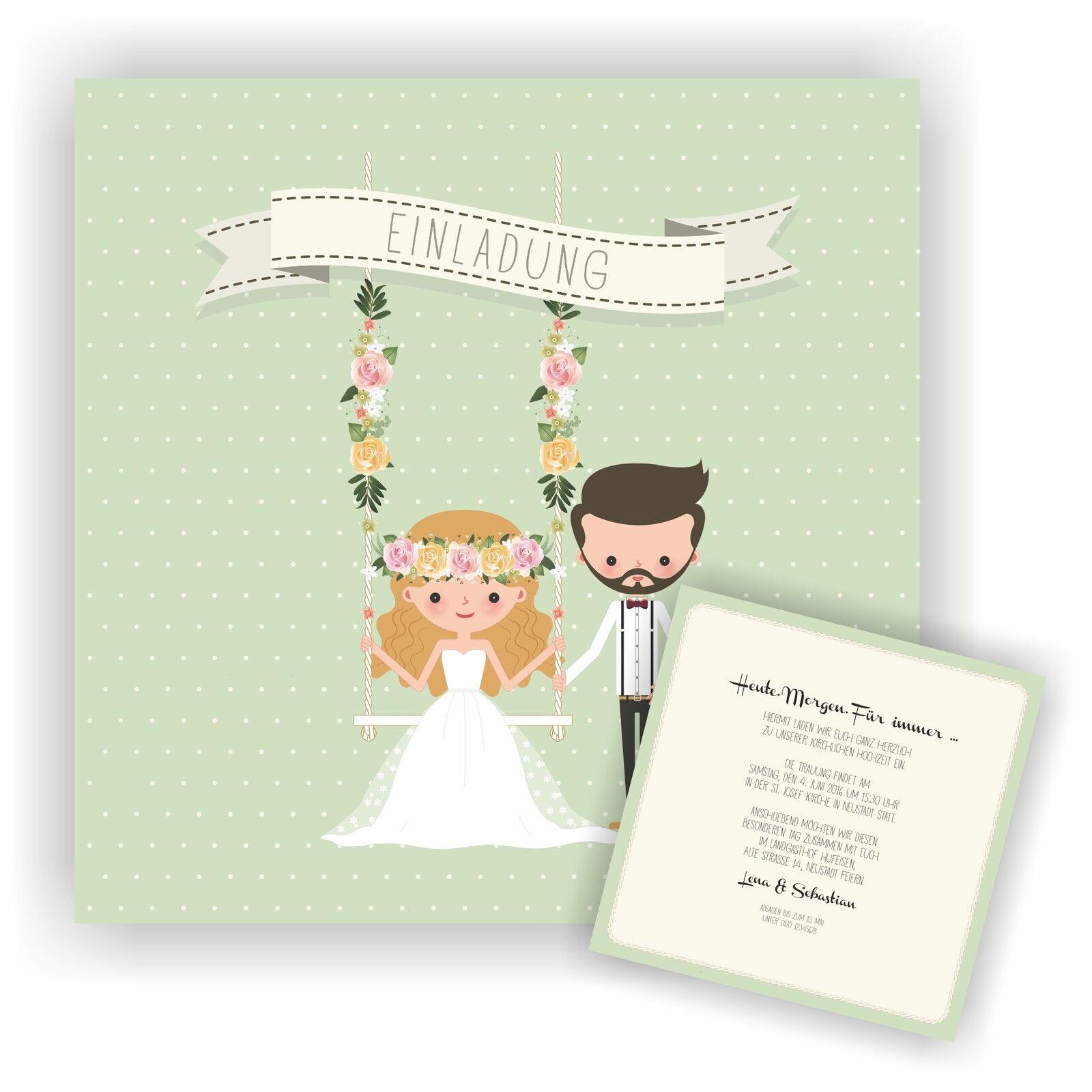 Einladung zur Hochzeit Einladungskarte Hochzeitseinladung Wedding HO22 | Ausgezeichnete Leistung  | Passend In Der Farbe