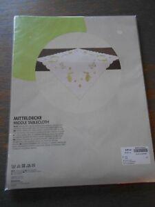 Mitteldecke-034-Ostern-034-80-80-cm-weiss-mit-Hasen-bestickt-NEU-amp-OVP