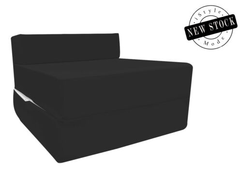 Cotton Twill Z Bed Single Size Fold Out Chairbed Foam Folding Guest Sofa Black