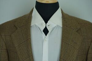 Polo-Ralph-Lauren-Blue-Label-Vintage-Brown-Windowpane-Flannel-Sport-Coat-Sz-42R