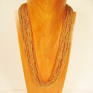 25 Multi Strand Clear Gold Color Handmade Seed Bead Statement Necklace