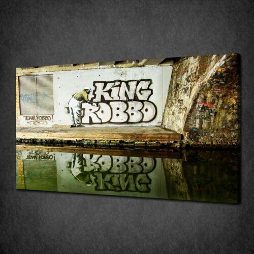 BANKSY KING ROBBO STENCIL CANVAS PRINT STREET ART PICTURE FREE UK P/&P
