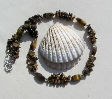 """Gold Tiger Eye Crystal Gemstone Chunky Statement Necklace """"Autumn Gold"""""""