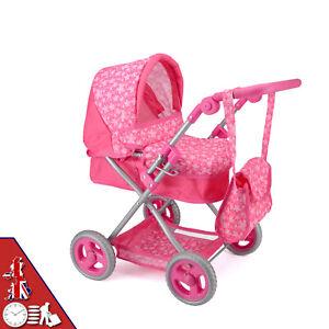 Kids Toy Deluxe Dolls Pram w Foldable Hood Adjustable Handle Large Lower Basket