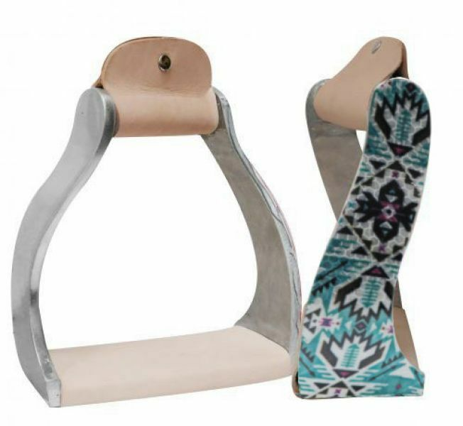 Showman TEAL Shimmering AZTEC  Print ALUMINUM Twisted & Angled STIRRUPS  save 60% discount and fast shipping worldwide