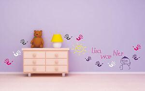 Details zu Wandtattoo ♥ Handabdrücke ♥ Wunschname Name ♥ Kind Kinderzimmer  ♥ Mehrfarbig