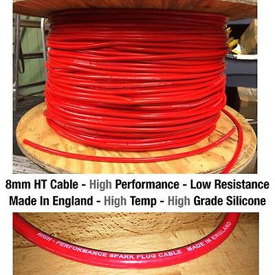 8mm Premium High Performance HT Ignition Lead Cable - Low Resistance Red Silicol