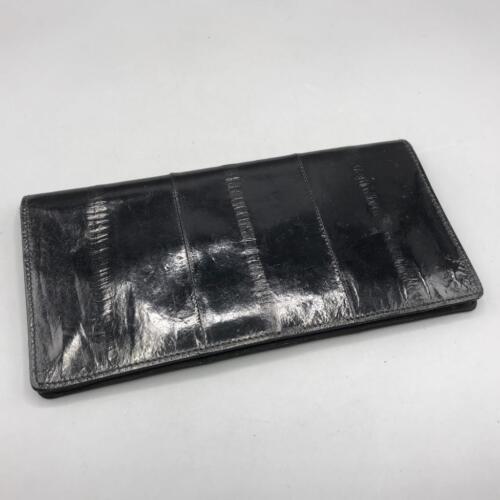 Peau Noir Cuir Livre De Vintage Poche Anguille chéquier enveloppe TzPUwnx