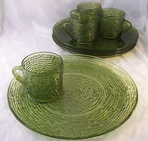 Image is loading Vintage-Anchor-Hocking-Soreno-Avocado-Green-4-Snack- : dinnerware sets green - pezcame.com