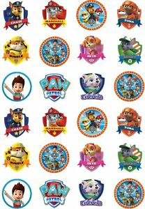 24 Paw Patrol Cupcake Stand Up Cake Toppers Edible Rice ...