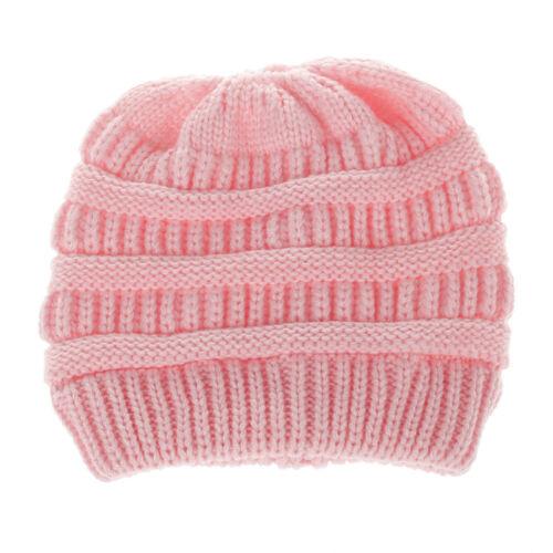 Kids Toddler Children Warm Knit Beanie Hat Boys Girls Winter Bobble Crochet Cap