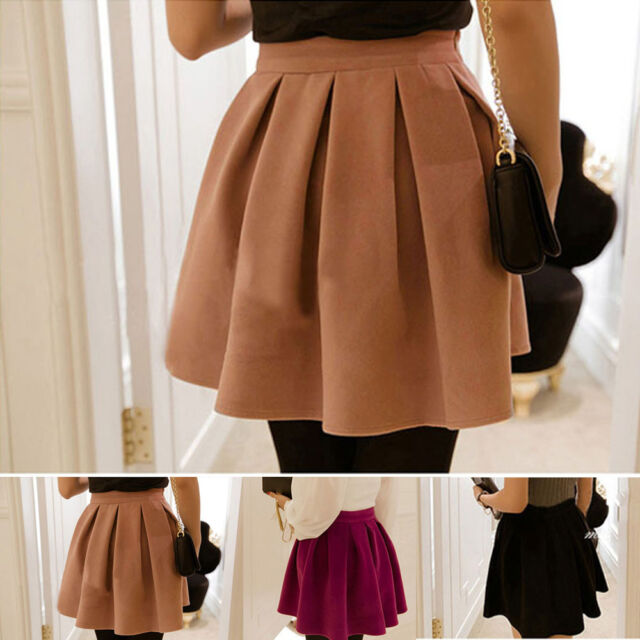 Lady Cotton Blend High Waist Mini Skirt Autumn Winter Pleated Skirts Solid DEb
