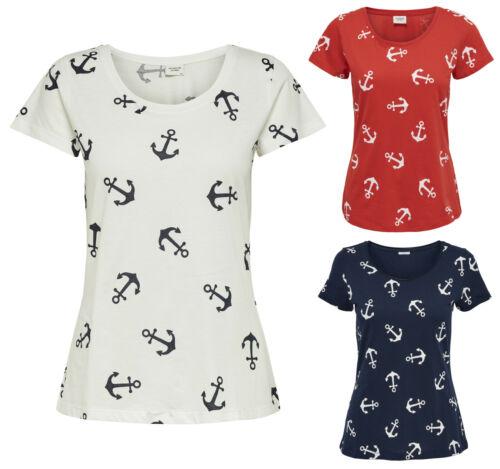 JDY by ONLY Damen Shirt T-Shirt JDYGLOW ANCHOR TOP Anker kurzarm weiß rot blau