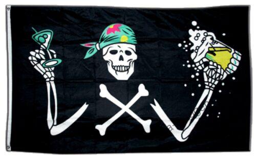 PIRAT MIT BIER Hissflagge PIRATEN Fahnen Flaggen 90x150cm