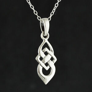 c25431a25dd4b Details about Celtic Knot Necklace - 925 Sterling Silver - Pendant Irish  Love Eternity NEW