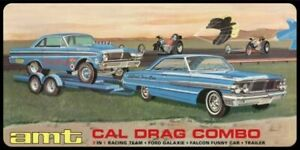 AMT 1/25 Cal Drag Combo:1964 Ford Galaxie, Falcon Funny Car & Trailer Model Kit